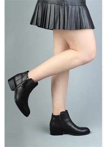 Modabuymus Modabuymus Hakiki Deri Kısa Topuklu  Kadın Bot - Marina Siyah